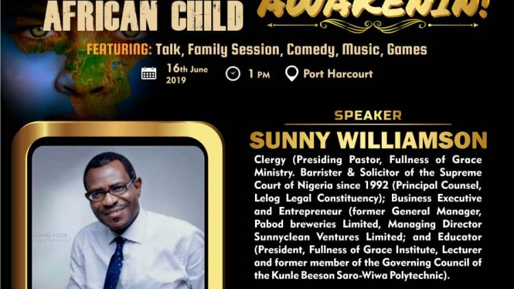 SUNNY WILLIAMSON – AWAKENIN International Day of The African Child 2019 Speaker